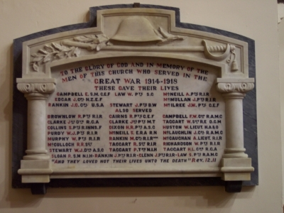War Memorial in Ballywillan Church
